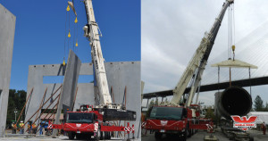 concrete tilt up panels by hydraulic cranes